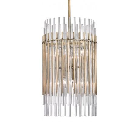 Wallis Loftlampe i stål og glas Ø66 cm 8 x E14 - Antik messing/Klar