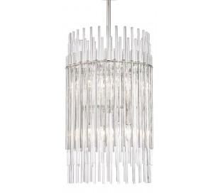 Wallis Loftlampe i stål og glas Ø66 cm 8 x E14 - Poleret nikkel/Klar