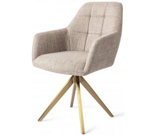 2 x Noto Rotérbare Spisebordsstole H86 cm polyester - Guld/Sandgrå