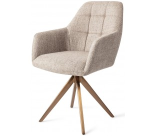 2 x Noto Rotérbare Spisebordsstole H86 cm polyester - Rødguld/Sandgrå