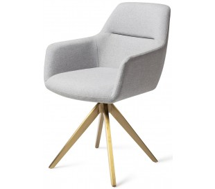 2 x Kinko Rotérbare Spisebordsstole H84 cm polyester - Guld/Grå