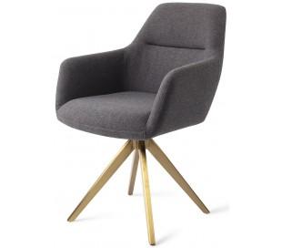 2 x Kinko Rotérbare Spisebordsstole H84 cm polyester - Guld/Mørkegrå