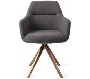 2 x Kinko Rotérbare Spisebordsstole H84 cm polyester - Rødguld/Mørkegrå