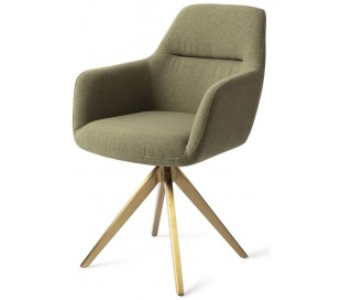 2 x Kinko Rotérbare Spisebordsstole H84 cm polyester - Guld/Jægergrøn