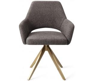 2 x Yanai Rotérbare Spisebordsstole H86 cm polyester - Guld/Mørkegrå