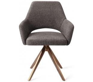 2 x Yanai Rotérbare Spisebordsstole H86 cm polyester - Rødguld/Mørkegrå