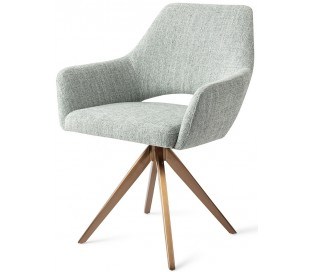 2 x Yanai Rotérbare Spisebordsstole H86 cm polyester - Rødguld/Sage grøn