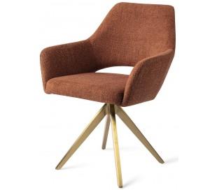 2 x Yanai Rotérbare Spisebordsstole H86 cm polyester - Guld/Terracotta