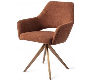 2 x Yanai Rotérbare Spisebordsstole H86 cm polyester - Rødguld/Terracotta