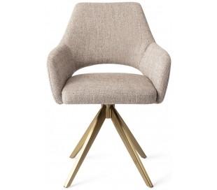 2 x Yanai Rotérbare Spisebordsstole H86 cm polyester - Guld/Sandgrå