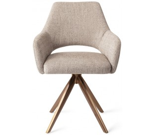 2 x Yanai Rotérbare Spisebordsstole H86 cm polyester - Rødguld/Sandgrå