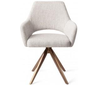 2 x Yanai Rotérbare Spisebordsstole H86 cm polyester - Rødguld/Duegrå