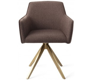 2 x Hofu Rotérbare Spisebordsstole H82 cm polyester - Guld/Lerbrun
