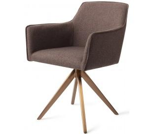 2 x Hofu Rotérbare Spisebordsstole H82 cm polyester - Rødguld/Lerbrun