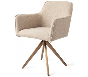 2 x Hofu Rotérbare Spisebordsstole H82 cm polyester - Rødguld/Lys valnød