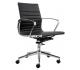 Wye kontorstol i læder og lav ryg - Krom/Sort