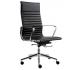 Wye kontorstol i læder og høj ryg - Krom/Sort