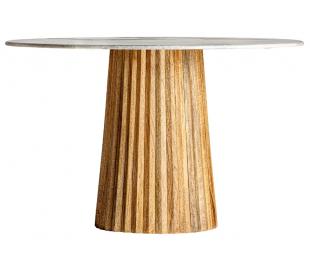 Rustikt spisebord i mangotræ og sten H75 cm x Ø120 cm - Natur/Grå