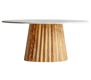 Rustikt sofabord i mangotræ og sten H45 cm x Ø100 cm - Natur/Grå