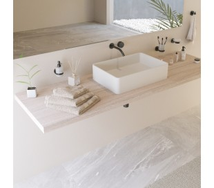 Ideavit Solidtop bordmonteret håndvask 60 x 40 cm Solid surface - Mat hvid