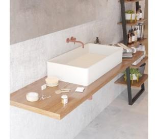 Ideavit Solidtop bordmonteret håndvask 80 x 40 cm Solid surface - Mat hvid