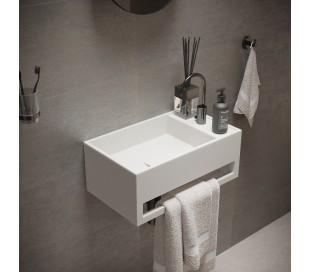 Ideavit Solidcube vægmonteret håndvask 50 x 30 cm Solid surface - Mat hvid