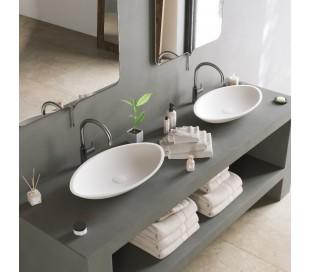 Ideavit Solidjazz bordmonteret håndvask 60 x 35 cm Solid surface - Mat hvid