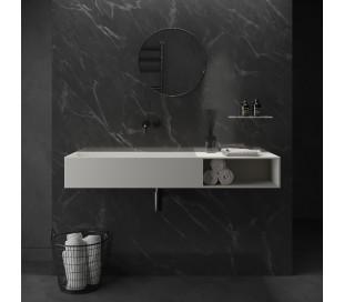 Ideavit Solidpure vægmonteret håndvask 140 x 37,6 cm Solid surface - Mat hvid