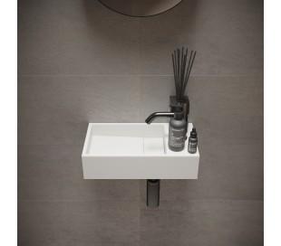 Ideavit Solidcube vægmonteret håndvask 40 x 22 cm Solid surface - Mat hvid