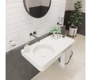 Ideavit Solidbrio vægmonteret håndvask 90 x 48 cm Solid surface - Mat hvid