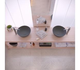 Ideavit Solidthin bordmonteret håndvask Ø39 cm Solid surface - Mat mørkegrå