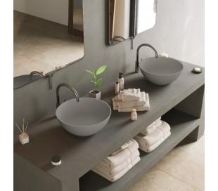 Ideavit Solidthin bordmonteret håndvask Ø39 cm Solid surface - Mat lysegrå