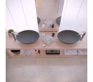Ideavit Solidthin bordmonteret håndvask 60 x 40 cm Solid surface - Mat mørkegrå