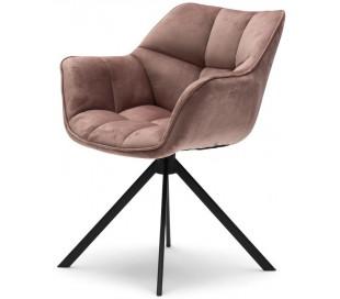 Carnaby Spisebordsstol i velour og metal H80 cm - Sort/Rosa