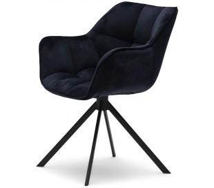 Carnaby Spisebordsstol i velour og metal H80 cm - Sort/Indigo blå