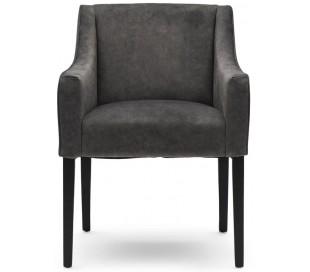 Spisebordsstol i polyester og træ H86 cm - Sort/Elefantgrå