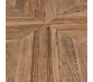 Rundt spisebord i genanvendt egetræ Ø150 cm - Industriel sort/Rustik natur