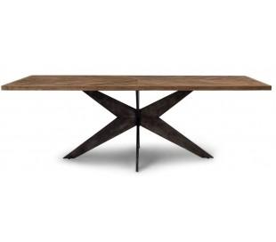 Spisebord i genanvendt egetræ 230 x 100 cm - Industriel sort/Rustik natur