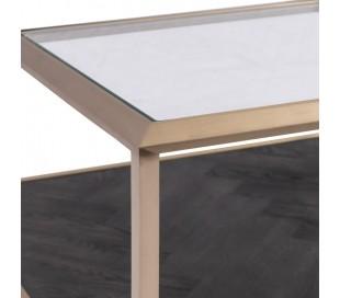 Sofabord i stål, glas og egetræ 90 x 90 cm - Kaffe/Sortbrun
