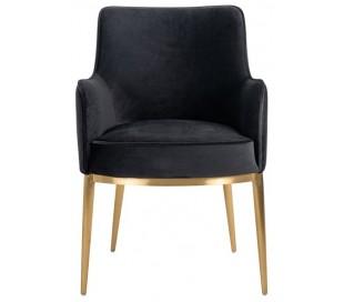 Breeze spisebordsstol i velour H86 cm - Børstet guld/Antracit