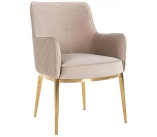 Breeze spisebordsstol i velour H86 cm - Børstet guld/Khaki