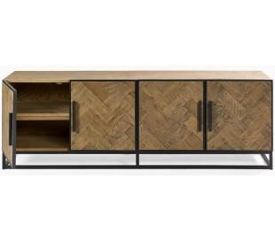 Tvbord i genanvendt egetræ og metal B180 cm - Sort/Eg