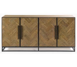 Sideboard i genanvendt egetræ og metal B180 cm - Sort/Eg