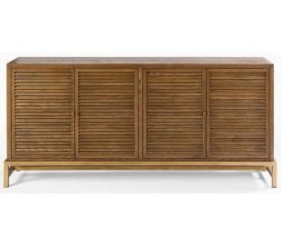 Sideboard i genanvendt egetræ og metal B190 cm - Antik guld/Brunbejset