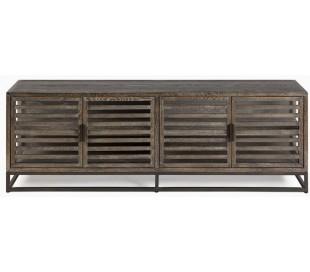 Sideboard i egetræ og metal B180 cm - Antik sort/Gråbejset
