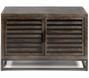 Sideboard i egetræ og metal B90 cm - Antik sort/Gråbejset