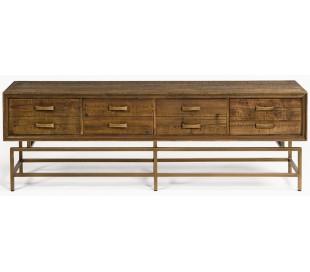 Sideboard i genanvendt fyrretræ og metal B180 cm - Antik guld/Brunbejset