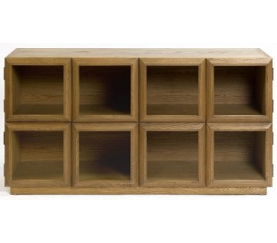 Sideboard i egetræ og glas B163 cm - Børstet eg