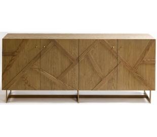 Sideboard i egetræ og metal B200 cm - Antik guld/Rustik natur