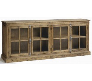 Sideboard i genanvendt fyrretræ og glas B220 cm - Antik natur